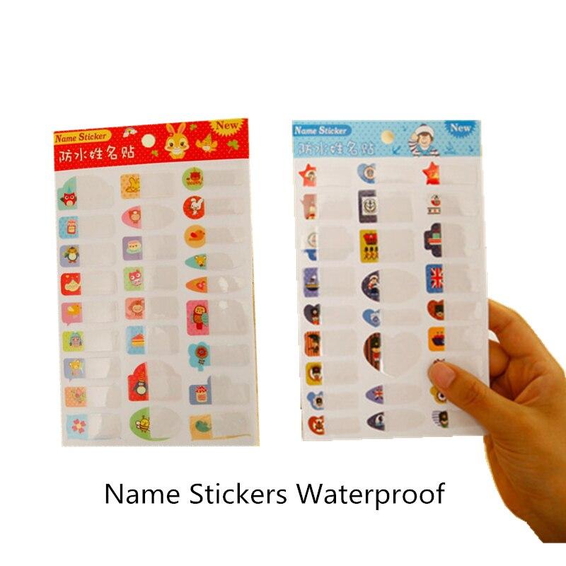 Купить с кэшбэком 2PCS Korean Cute Name Stickers Waterproof DIY Blank  Paper Class Stickers Color Office Stationery For School Child Supplies