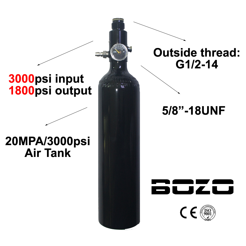 Paintball PCP Diving Mountaineering Air Tank Cylinder 3000psi/20MPA 0.5L HPA High Compressed Bottle 5/8-18UNF regulator