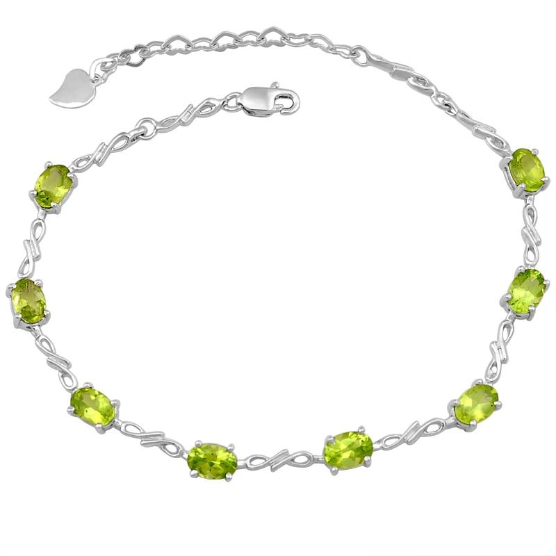 Péridot naturel Bracelet 925 en argent Sterling femme Fine élégante gemme verte bijoux fille pierre de naissance saint-valentin cadeau sb0008p