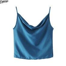 4 Colors Satin Look Drape Front Camis Summer Sleeveless V Neck Solid Simpls Slim Skinny Women