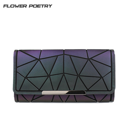 Marke Design Frauen Lange Brieftaschen Geldbörse Geometrie Holographische Leucht Kupplung Weibliche Telefon Tasche Drei Falten Karte Halter Carteira