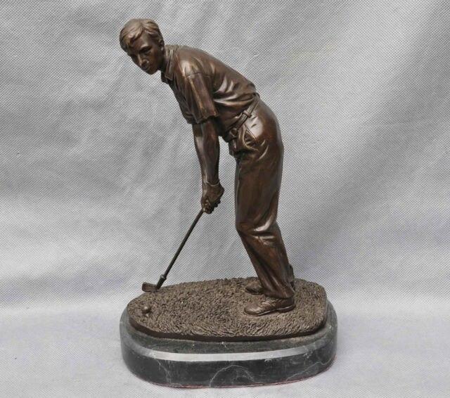 Mouvement Sport Golf Swing Hit la Balle Charme Art Sculpture Statue cigarette briquet cuisson outils Décoration 100% Laiton Bronze