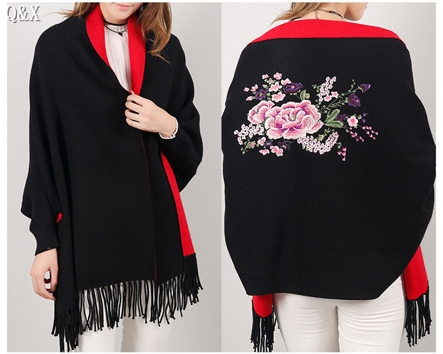 SC15 2018 Double Side Scarf Winter Luxury Cashmere Poncho Women Solid Female Long Sleeves Wrap Vintage Shawl With Back Floral