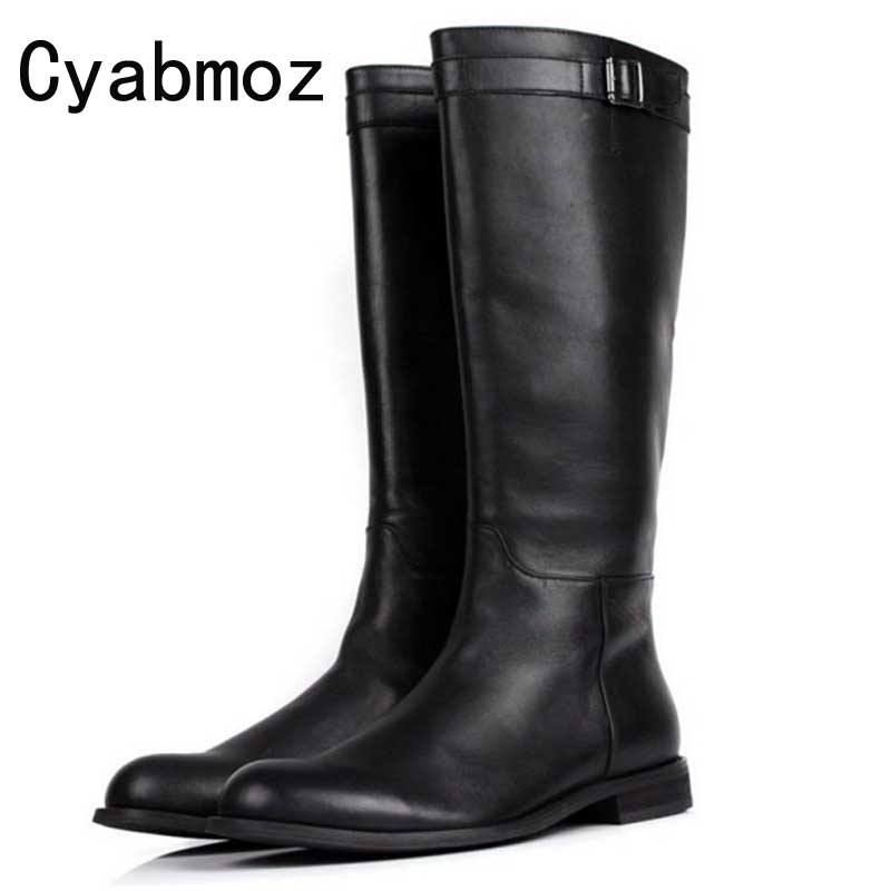 Fashion Mid Calf Mens Riding Boots Genuine Leather Buckle Martin Boots Long Boots Men Winter Shoes Male Luxury Military Boots 2018 winter men riding boots mid calf military botas blue black genuine leather knight martin shoes male fashion safety footwear