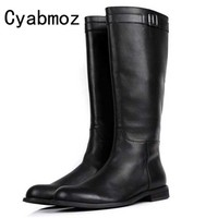 Fashion Mid Calf Mens Riding Boots Genuine Leather Buckle Martin Boots Long Boots Men Winter Shoes Male Luxury Military Boots