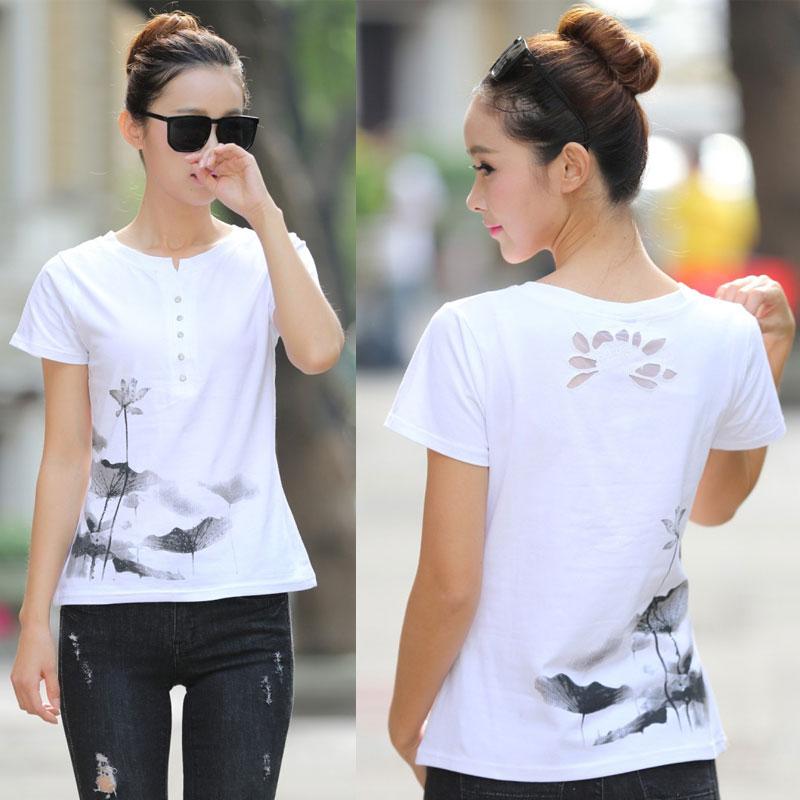 קיץ נשים חולצת טריקו פלוס גודל נשים חמוד הדפס חולצה סינית בסינית דיו ציור בסגנון לוטוס חולצת שרוול קצר חולצות מקרית