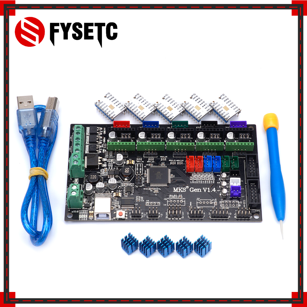 MKS Gen V1.4 Control Board Mainboard + 5PCS TMC2100 V1.3 Stepper Motor Compatible With Ramps1.4/Mega2560 R3 3D Printer Parts mks gen v1 4 control board mainboard compatible with ramps1 4 mega2560 r3 5pcs tmc2130 v1 0 stepper motor for 3d printer parts