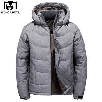 MIACAWOR New Duck Down Parkas Men Winter Jacket Coat Hooded Warm Down Jacket Jaqueta Masculina Casual Men Outerwear J493