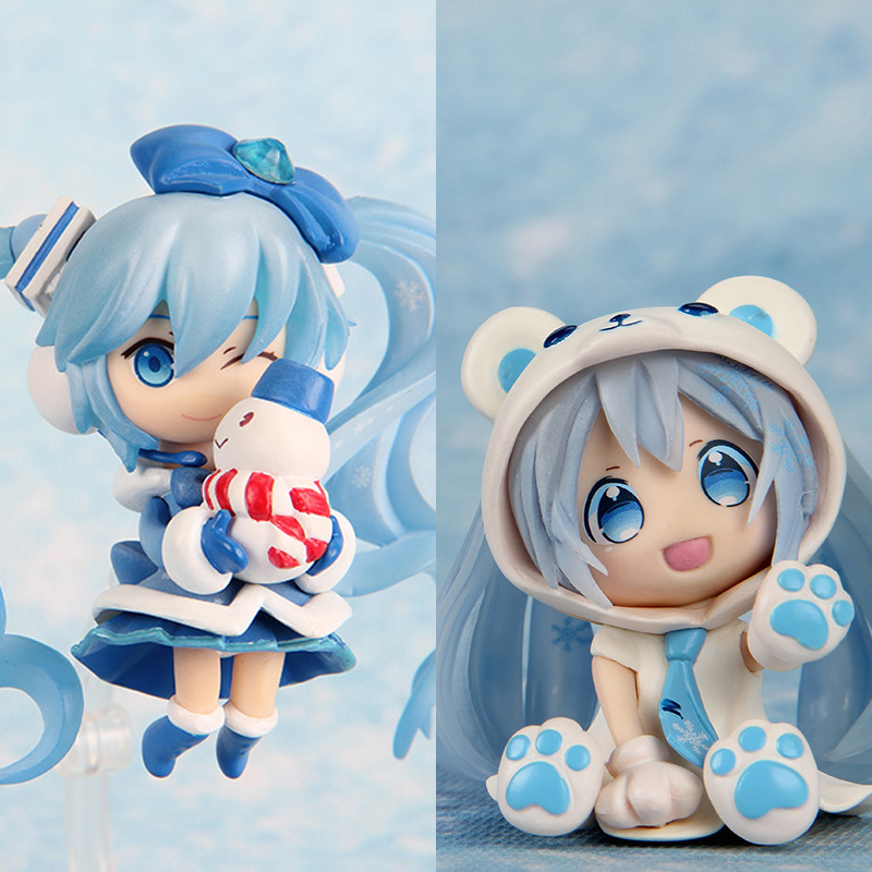 "Japanese Anime Doll Cute Nendoroid White Bear Hatsune Miku Snow PVC Action Figure Model Toy 4 inch"" 10cm 2pcs/set"""