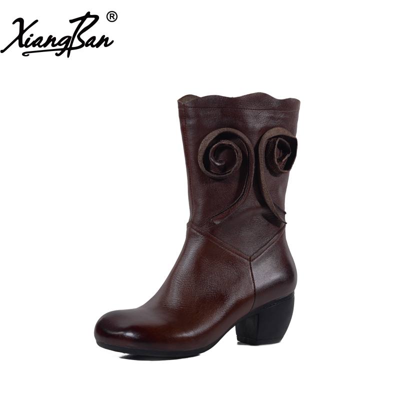 Xiangban Genuine Leather Female boots Mid Calf Boots 2018 Spring Autumn Winter Female Shoes 3040 double buckle cross straps mid calf boots