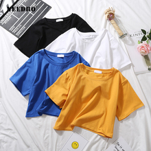 NEEDBO Best Sell Sexy Crop Top t shirt Femme Short Sleeve Casual Cotton Tshirt for Women High Waist Slim T-shirt Sport Tops&Tees