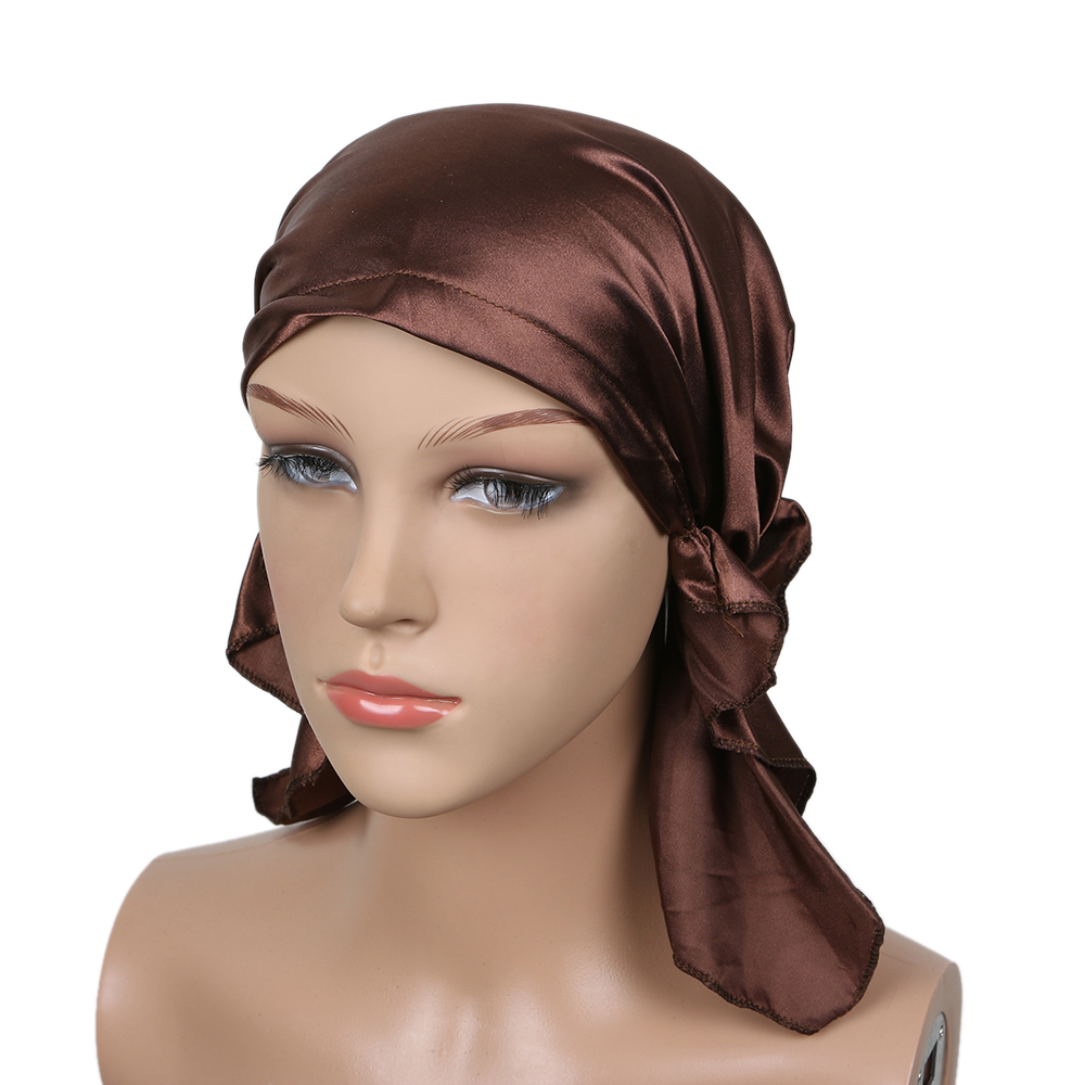 2018 Fashion Women Night Sleep Cap Ladies Soft Silk Long Hair Care Bonnet Headwrap Hat Soft Satin Hat Accessories Satin Hat
