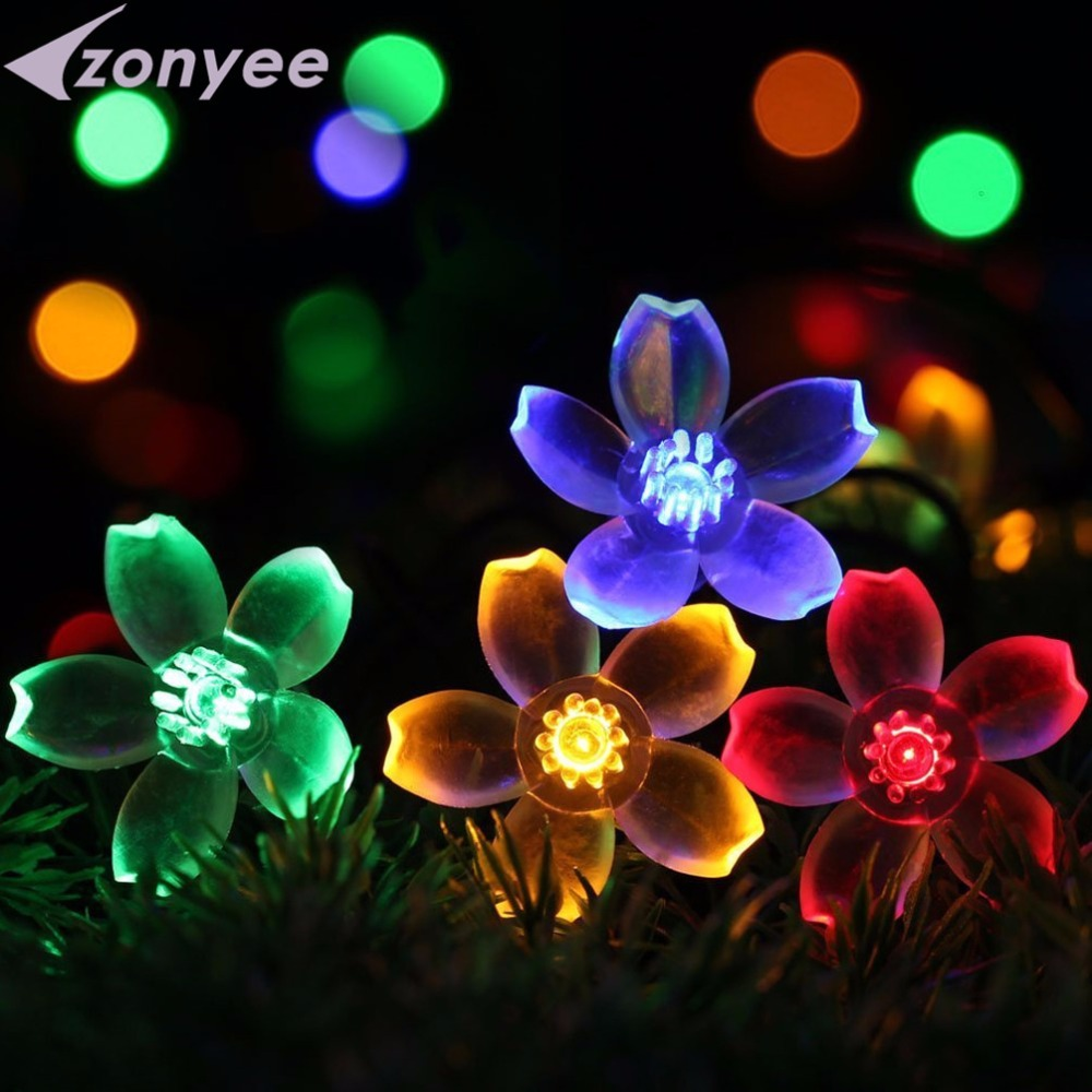 Solar String Lights Waterdichte lampen Perzik Flower Power LED String - Buitenverlichting
