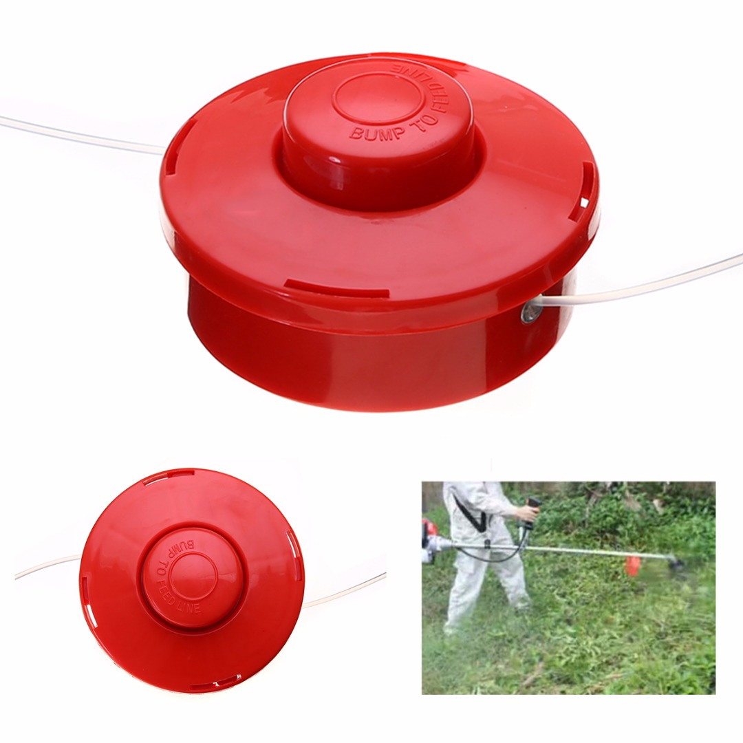 DWZ Replacement Nylon Brush Mower Bump Spool Grass Trimmer Head w/2.4mm Cut Red Rope craftsman automatic feed spool with nylon line replacement 71 85942