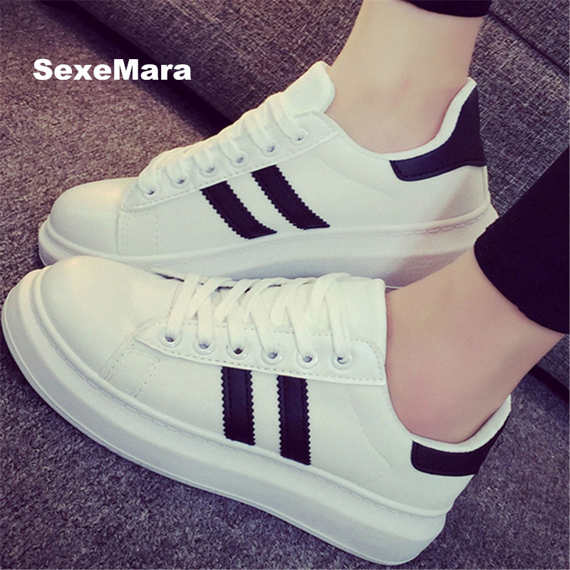 Women Shoes new 2017 brand Flat Casual Shoes Fashion Breathable parallel Canvas superstar shoes white black tenis feminino