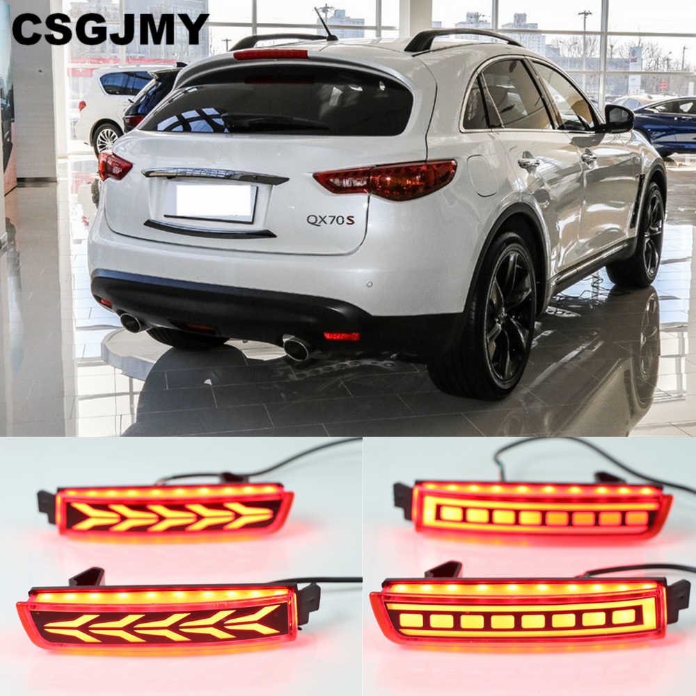 CSGJMY 2PCS LED Reflector Lamp Rear Fog Lamp Bumper Light Brake Warning Light For Infiniti QX70 2013 2014 2015 2016 2017 2018