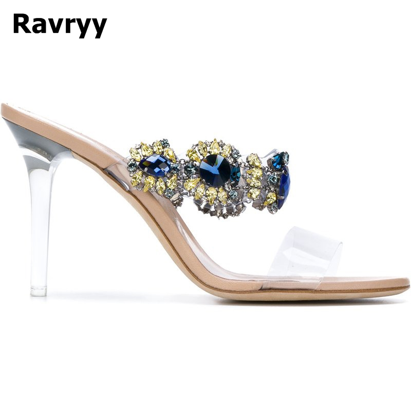 Glittering Crystal Fower Tansparent Thin High Heels Sandals Fashion Sexy Elegance Summer Party Banquet Women Shoes women shoes sexy feather thin heels sandals fashion super high 11cm women sandals party shoes high heels sandalias mujer fashion