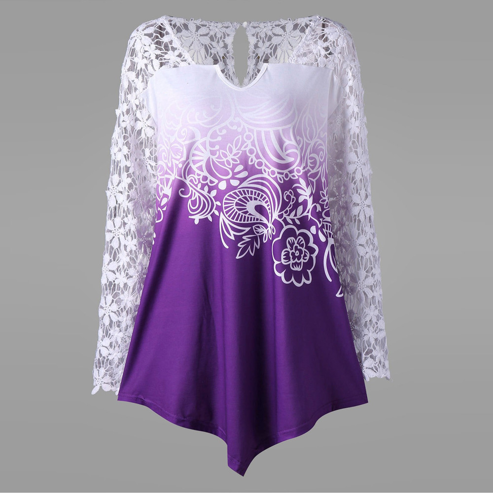 Women V-Neck Long Sleeve Floral Lace Patchwork Yoke Ombre Top  camisas mujer Tops For Women Summer 2019 Camiseta Feminina