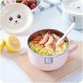 Wärmedämmung Edelstahl Suppe Schüssel mit Schöne Deckel Griff Instant nudeln Tureens Erwachsene Dinner Geschirr Esszimmer Schüssel|Schüsseln|   -