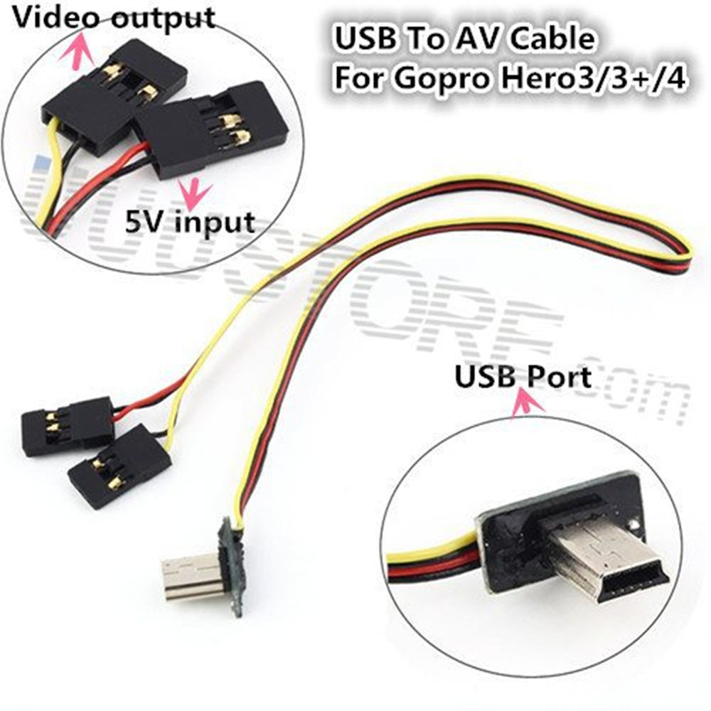 medium resolution of usb 90 degree to av cable video output 5v dc power bec input cable fpv part