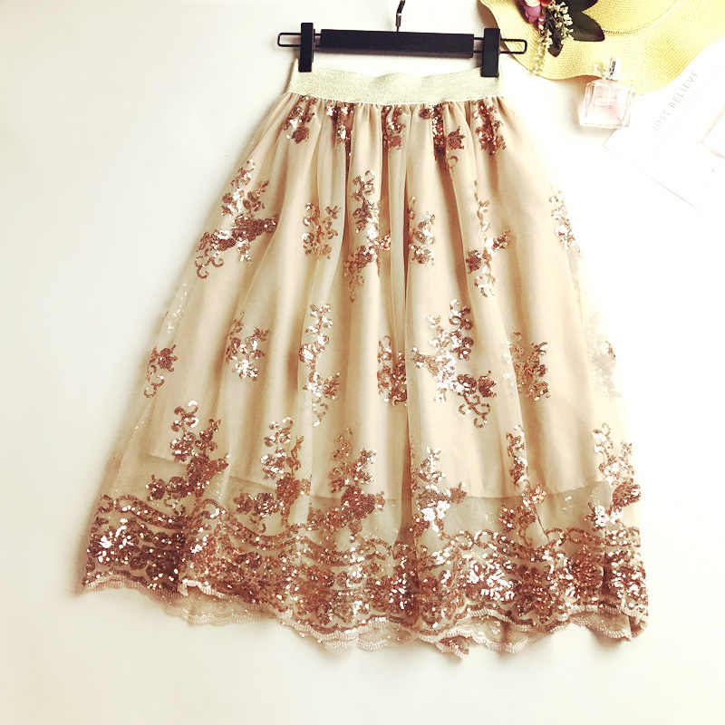 f3cb78047 ... 2018 Mesh Embroidery Flowers Skirts Summer Women Elastic Force Black  Sequin Lace Sexy Splicing High Waist ...