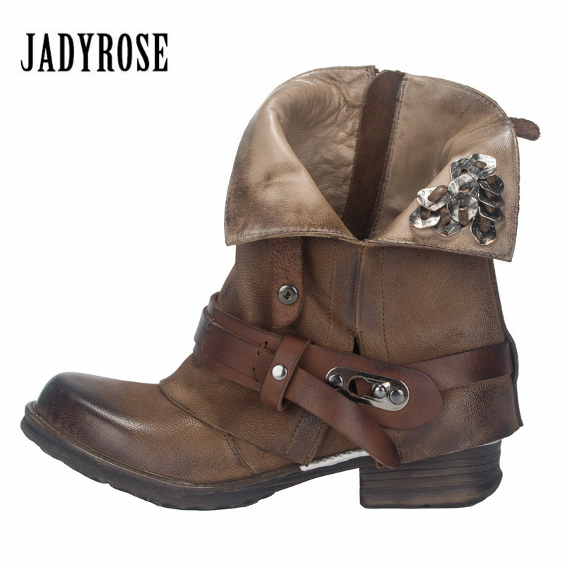 Jady Rose Vintage Riding Boots Brown Ankle Boots for Women Metal Decor Autumn Winter Botas Platform Genuine Leather Rubber ShoesJady Rose Vintage Riding Boots Brown Ankle Boots for Women Metal Decor Autumn Winter Botas Platform Genuine Leather Rubber Shoes