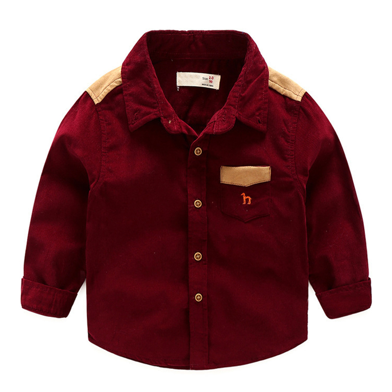 New Arrival Boys Shirts Fashion Children Long Sleeve Single-breasted Blouse Clothing Baby Boy Lapel Collar Cotton Corduroy Shirt