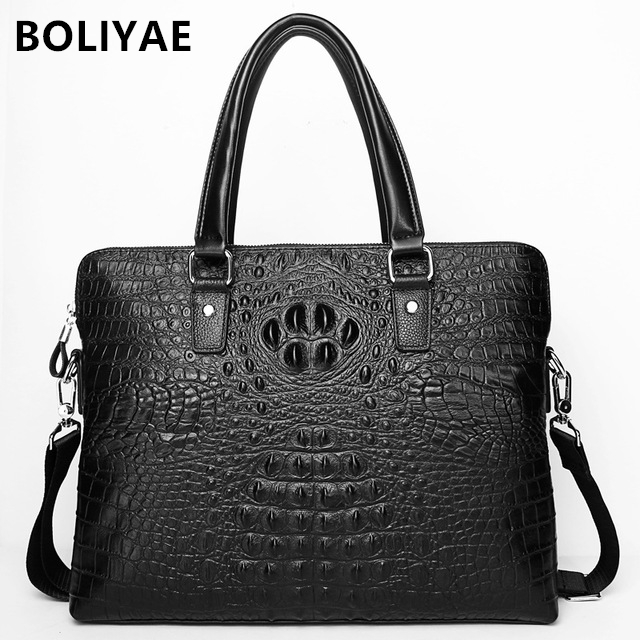 BOLIYAE Genuine Leather Business BAG Crocodile pattern HandBags Men Cowhide briefcase laptop bag fashion Crossbody BagBOLIYAE Genuine Leather Business BAG Crocodile pattern HandBags Men Cowhide briefcase laptop bag fashion Crossbody Bag