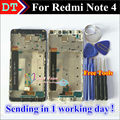 Pantalla lcd + asamblea de pantalla táctil digitalizador de alta calidad para xiaomi redmi note 4 hongmi note 4 celular con marco