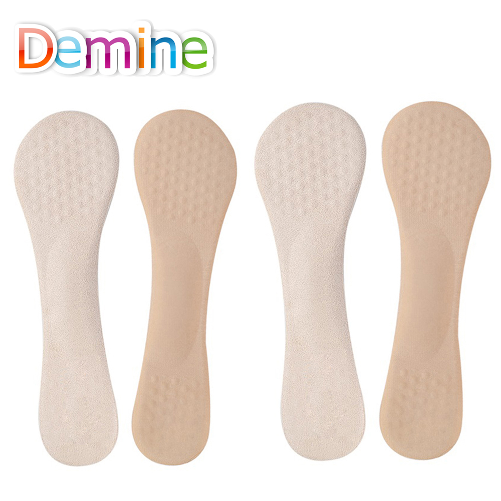 Demine 2 Pair 3/4 Arch Support Insoles Silicone Gel Flat Foot Massage Cushion for Women High Heel Anti-slip Breathable Inserts