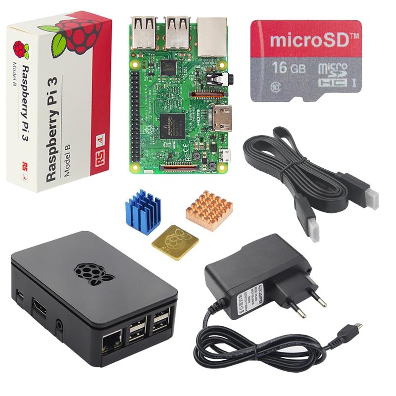 Original UK Raspberry Pi 3 Starter Kit + caja ABS + 2.5A adaptador de alimentación + aluminio del disipador de calor para frambuesa PI 3 Modelo B