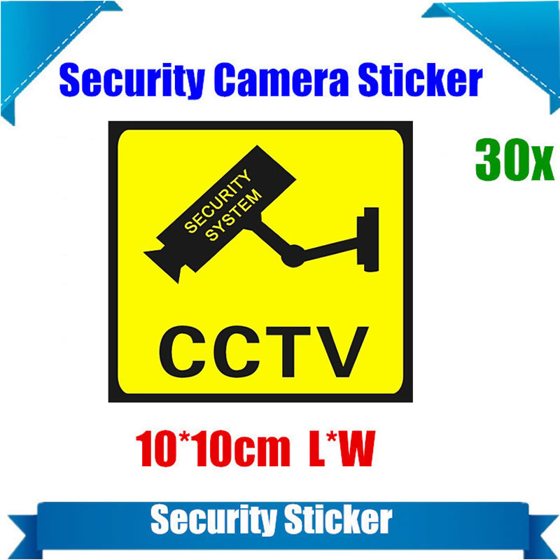 30 Pieces Waterproof Security Camera Sticker Warning Decal Signs For CCTV Surveillance Fake Camera And Dummy Camera