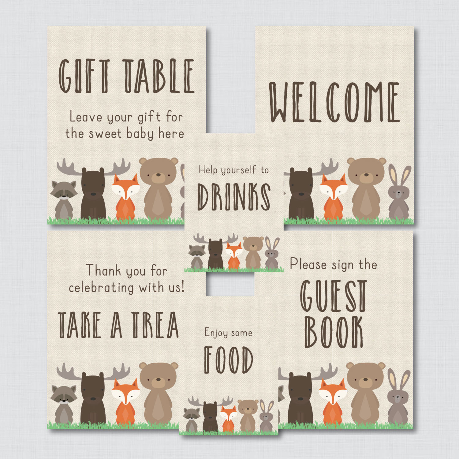 Woodland Baby Shower Table Signs - 6 Signs! Welcome Sign, Favors Sign, etc - Woodland Baby Shower Decor ...
