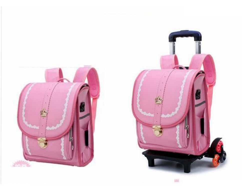 Japan School Backpack kid Orthopedic wheeled backpack Children PU Japanese trolley backpack Kids school backpack Bags on wheels
