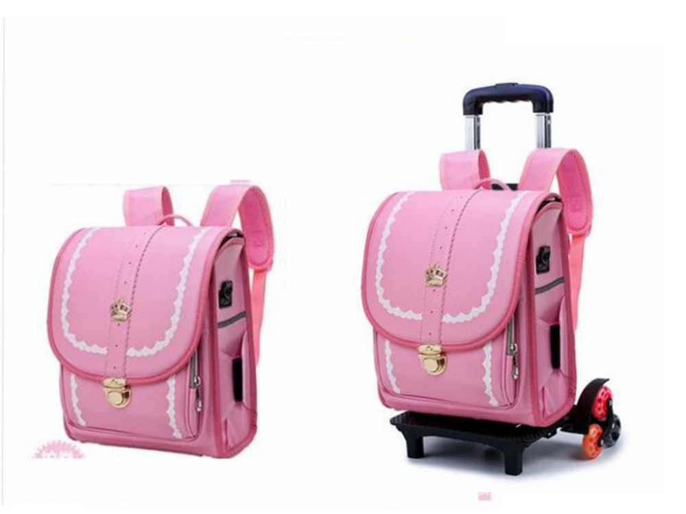 Japan School Backpack kid Orthopedic wheeled backpack Children PU Japanese trolley backpack Kids school backpack Bags on wheels