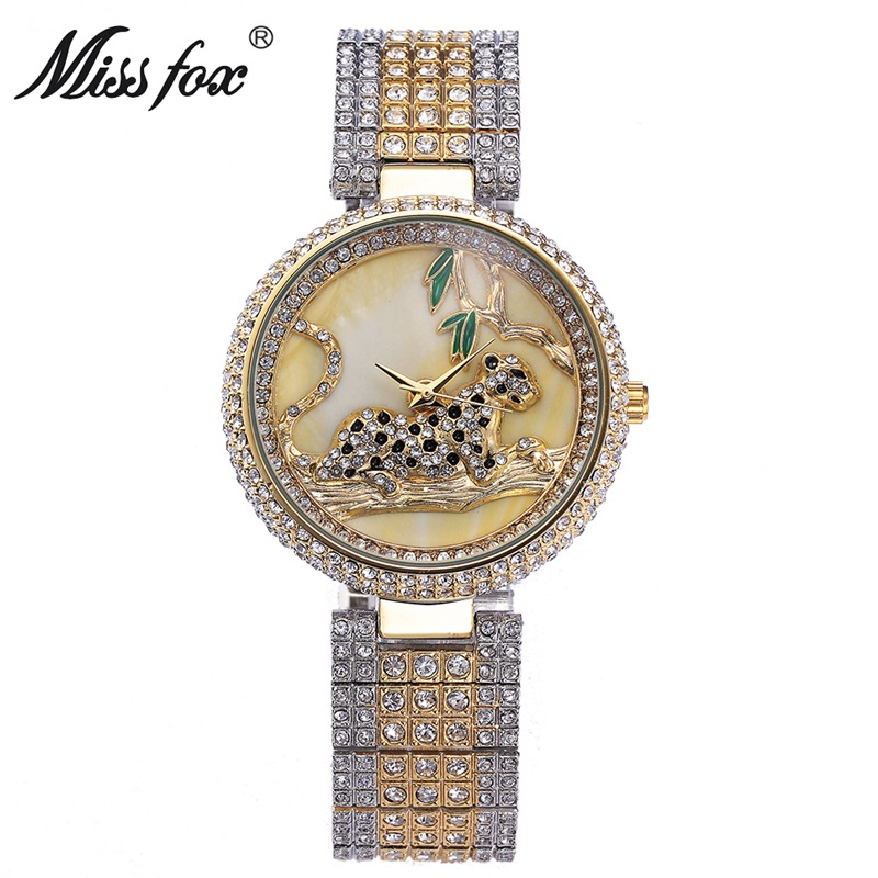 Miss Fox Fashion Watch Women Genuine Rhinestone Leopard Ladies Wathces Stainless Steel Full Diamond Wristwatch Relogio