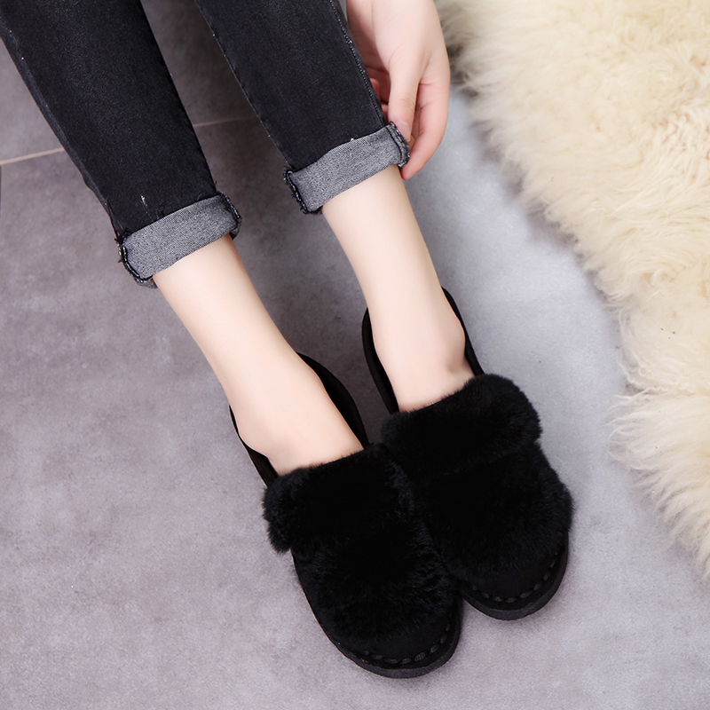 SLHJC 2017 Autumn Winter Shoes Flat Heel Slip On Real Fur Flats With Low Platform Women Casual Shoes slhjc 2017 autumn flat heel shoes pointed toe women flats with metal chain real fur loafers work shoes d25