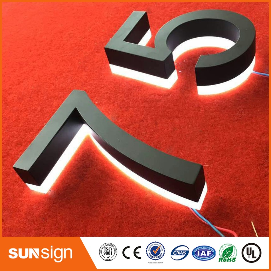 H20cm One Letter Custom LED Lighted Stainless Steel House Numbers Large