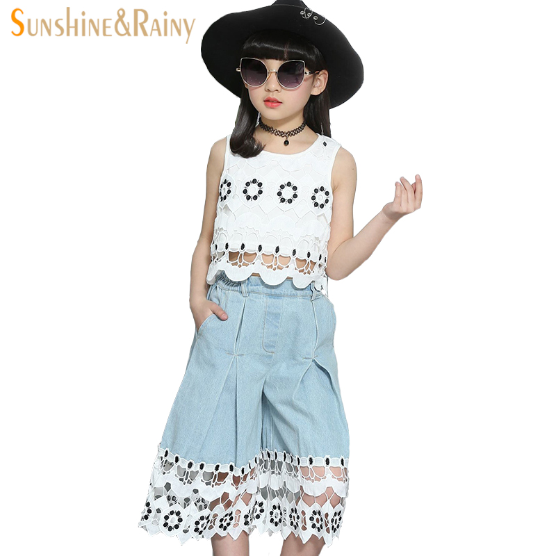 girls clothes fashion summer kids clothing sets 2pcs white lace vest + jeans shorts denim children clothes set girls outwear set 2017 cute kids girl clothing set off shoulder lace white t shirt tops denim pant jeans 2pcs children clothes 2 7y