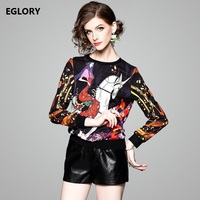 Long Sleeve T Shirts 2018 Spring Summer T Shirt Women Cartoon Girl Horse Print Shirt Casual
