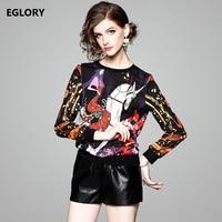 Long Sleeve T Shirts 2018 Spring Summer T Shirt Women Cartoon Girl Horse Print Shirt Casual