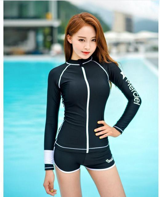 114cfd457a 3PCS Long Sleeve Swimsuit for Women Rashguard SwimShirts Korea Swimwear  Rash Guard Short Pants Surf Uv Bodyboard