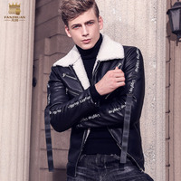 Free Shipping Fanzhuan New 2017 Fashion Male Men S Coat Fur Integration Collar Thickening Warm Motorcycle