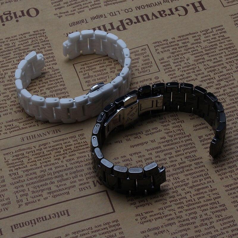Céramique bracelet bracelet de bracelet de montre femmes hommes montres bande 22mm 19mm blanc noir Papillon boucle convexe fin pour 1421 - 3