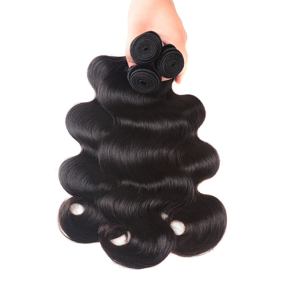 Body Wave Hair Bundles With Closure Hair Brazilian Weave Mellow Body Wave Bundles With Closure Non Remy Hair Baby Hair Extension