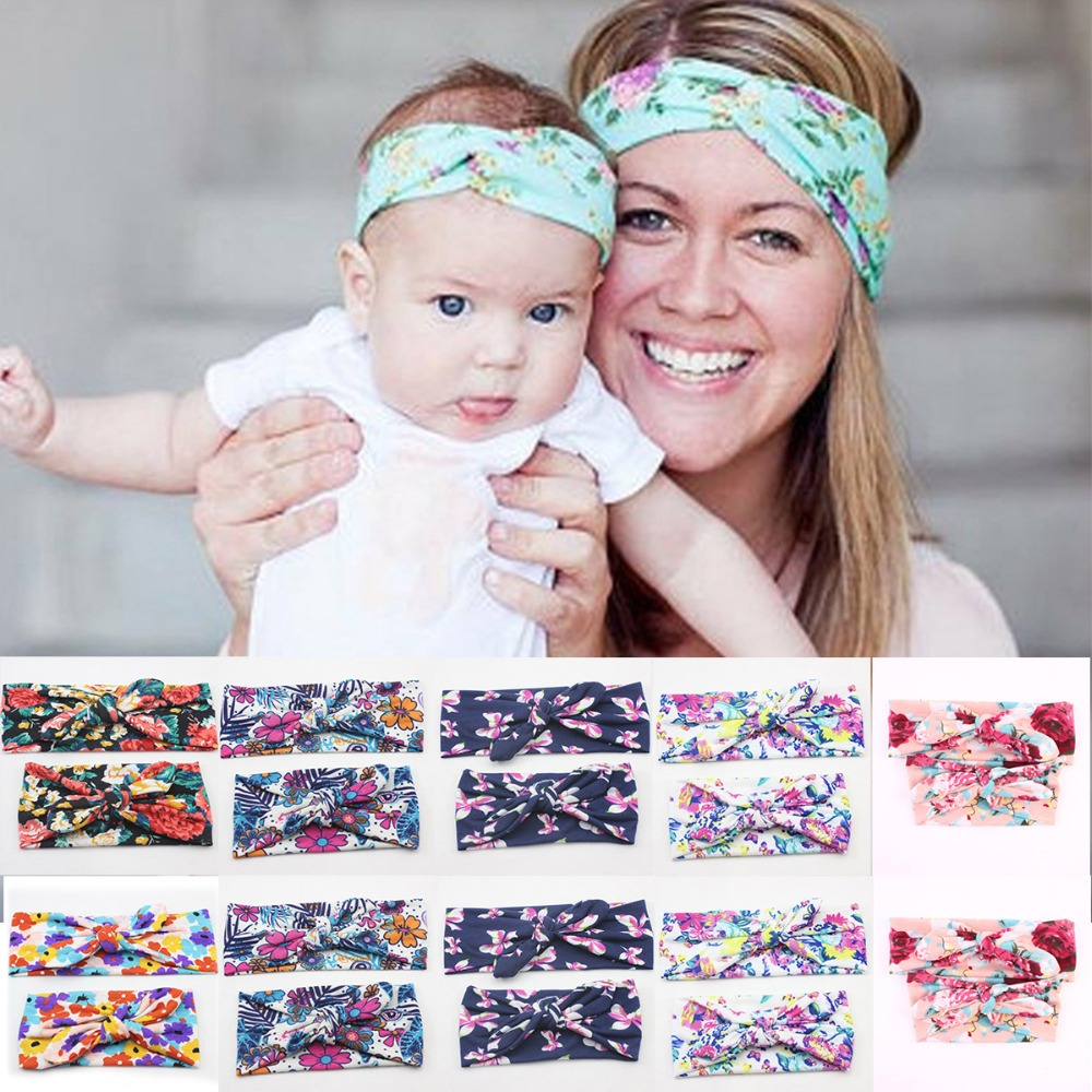 2Pc/<font><b>Set</b></font> Mum <font><b>baby</b></font> Mother Daughter Rabbit Ears Bowknot <font><b>Hair</b></font> Band Matching Elastic Headband Floral Turban Knot <font><b>Accessories</b></font> Headwear image