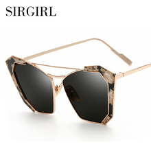 Exaggeration Women Cat Eye Sunglasses Round Mirror Glasses For Women Sunglass Sirgirl Brand Designer 2017 New Arrival Eyewear