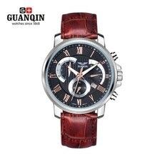 Famoso Reloj de la Marca GUANQIN Reloj de Cuarzo Luminoso Impermeable de Los Hombres de Cuero Reloj de Moda de Lujo Para Hombre Relojes de Pulsera Relogio masculino