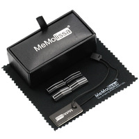 MMS Black Folding Stick Cufflink | Display Box | Wiping Rag and Tag | Gift for Men or Groomsmen | Luxury Cuff Link ...