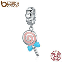 BAMOER Trendy New 925 Sterling Silver Sweet Lollipop Candy Sweetie Pendant Charms Fit Women Charm Bracelets